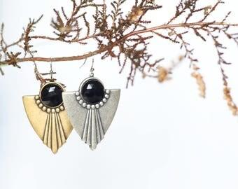 Art Deco earrings | Tribal earrings | Chandelier earrings | Boho earrings | Ethnic earrings | Shield earrings | Art Deco jewelry | Jewelry