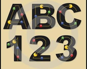 Pacman Alphabet Letters & Numbers Clip Art Graphics