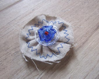 Spindle spun torch, backing fabric, Royal Blue Murano glass bead