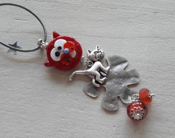 Cat type necklace red Lampwork Glass necklace