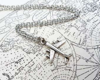 Airplane charm necklace aeroplane in silver, travel adventure plane