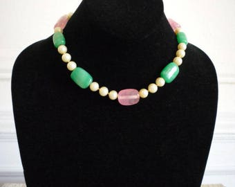 Beautiful Vintage Faux Pearl Rose Quartz Green Jade Rhinestone Choker Necklace