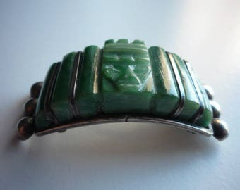 Rare Antique Sterling Silver Mexico Carved Green Jade Aztec Tribal Mask Curved Brooch Pin