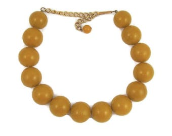 Goldenrod Yellow Plastic Beads Necklace Large Rounds Mid Century