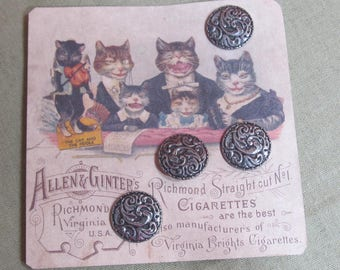 Pewter Buttons x 4; vintage buttons; 3/4 in. buttons; 1960's