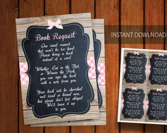 Baby Q Baby Shower Book Request Card, Pink BabyQ Book Request, Digital Printable Card