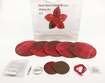 Small Red and Brown check Harris tweed brooch making kit