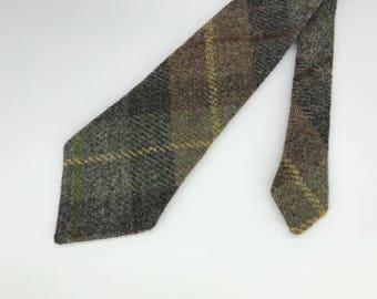 Brown and green Harris tweed neck tie