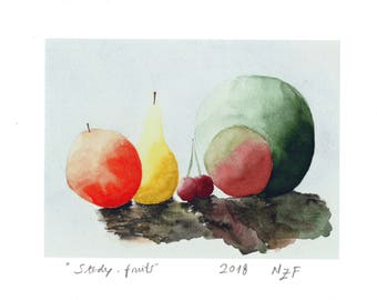 Study fruits original print kitchen decor fruits wall art fruits wall decor kitchen decor kitchen wall art kitchen orange
