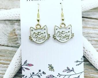Enamel cat lady earrings
