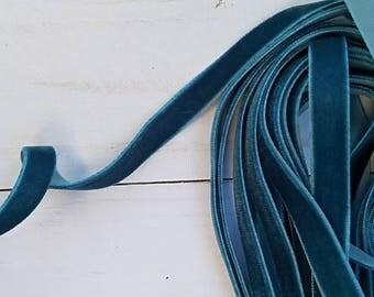 3/8 Teal Velvet NON ELASTIC Ribbon