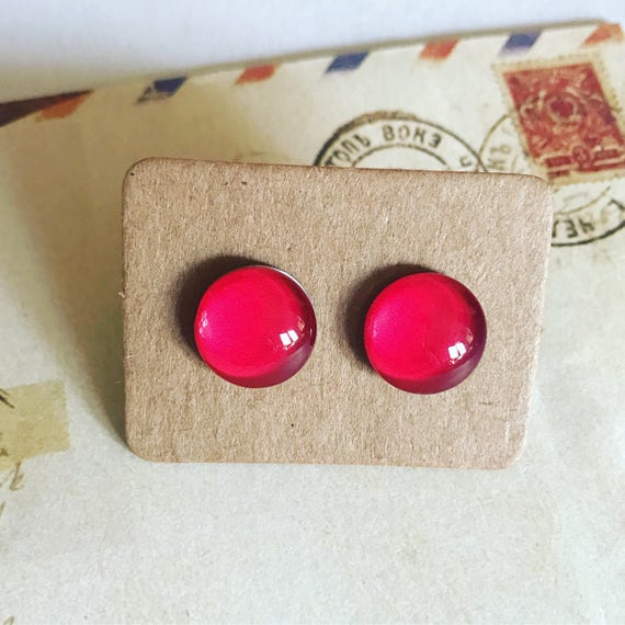 Cherry Red Glass Stud Earrings. Hypoallergenic surgical steel glass tile.