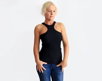 Black Tank Top, Sexy Top, Black Halter Top, Racer Back Tank, Fashion Top, Black Party Shirt, Sleeveless Tee, Slim Fit Top, Womens Tank Top