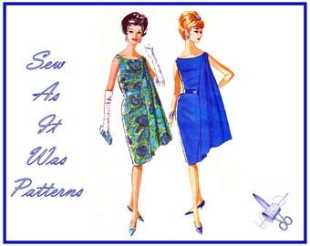"1960s FF McCall's 6599 Pauline Trigère Sleeveless Sheath Dress Scoop Neckline Shoulder Drape Vintage Sewing Pattern Size 12 Bust 32"" 83cm"