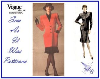 1980s Uncut Vogue Paris Original 1948 Christian Dior Flounce Skirt Dress Mandarin Collar Jacket Vintage Sewing Pattern Size 10 Bust 32 34