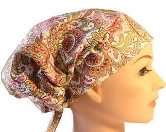 Scrub Hat Cap Chemo Bad Hair Day Hat  European BOHO Pink Green Rust Paisley 2nd Item Ships FREE