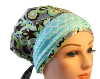 Scrub Hat Cap Chemo Bad Hair Day Hat  European BOHO Banded Pixie Tie Back Lime Grey Paisley Mint Band  2nd Item Ships FREE