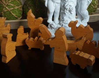 Vintage, Carved Wood 11 Piece Nativity Set