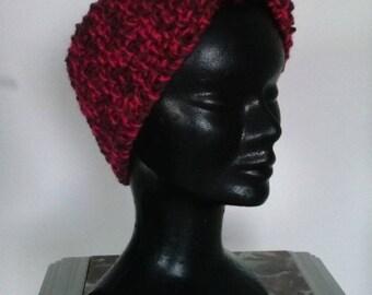 Wide headband mottled Brown/fushia, pure wool for winter!