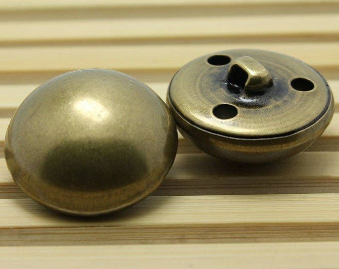 Steampunk Inspired Military Mushroom / Dome Buttons in Brass Color 25MM Set of 10