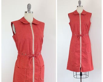 60s Red Scooter Shift Dress / 1960s Vintage Cotton Day Dress / Medium / Size 10