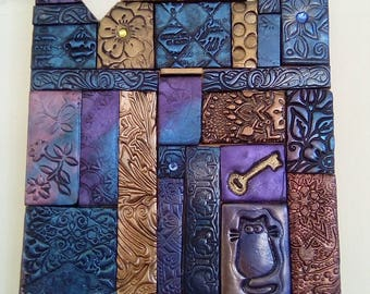 Polymer clay tile mosaic plaque, decorative mosaic tile, home decor, blue, gold, wall art, wall plaque, unique gift, handmade wall art