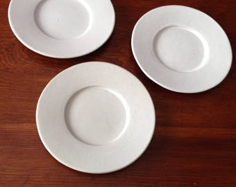 Bennington Pottery Mid-Century  3 White Matte Finish Hand Thrown Pottery Saucers Excellent Condition David Gil Marked 1627 Takes 1626 Cups