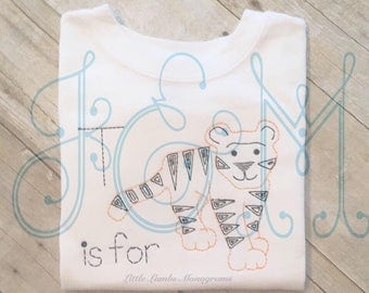 T is for Tiger Vintage Stitch Style Machine Embroidery Design