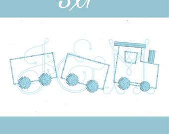 Little Train Vintage Stitch Colonial Knot Machine Embroidery Design