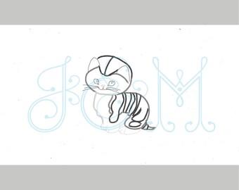 Little Shy Kitten Vintage Stitch Vintage Style Machine Embroidery Design 5x7