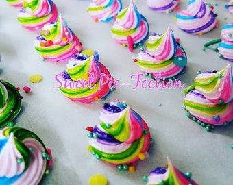 Rainbow Unicorn Poop Meringues, Meringues, Unicorn Poop, Unicorn Party, Unicorns, French Meringues - 1 dz Treat Bags 6 meringues each