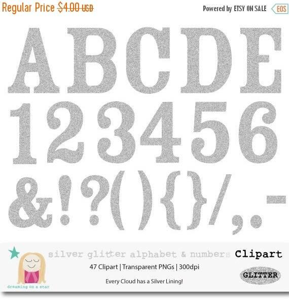 Silver Glitter Letters Clip Art  Digital Glitter Alphabet