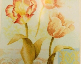 tulips and ornaments lanarte home and garden cross stitch collecton 35006