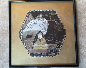 Antique Framed Chinese Silk Textile, Immortals? Fisherman