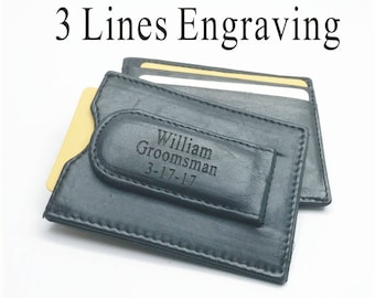 Holidays , Christmas gift -Personalized Genuine Leather Money clip wallet , Engraved Money clip-Free engraving -Free shipping to USA