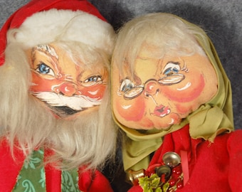 Christmas in July Annalee Mobilitee Vintage 1960's Large Santa and Mrs Claus holiday early painted felt cloth dolls 28 and 29 inch