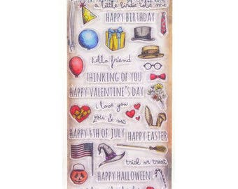 Tim Holtz THINGS TALK Birthday Valentine's day thinking of you easter halloween 34 pc set Clear Stamp Set Stampers Anonymous cc02