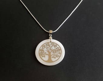 """Necklace """"tree of life mother-of-pearl"""" 925 silver"""