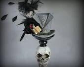 RESERVED for LILI, Wizard Mini Top Hat, Dark Lord Mini Hat Costume, Grey Mini Hat, Magical Fascinator Hat, Tea Party Hat, Women Top Hat