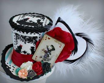 Mini Top Hat, Alice Costume Fascinator, Wonderland Birthday Hat, Alice in Wonderland Hat, Alice Tea Party Hat, Alice Fascinator