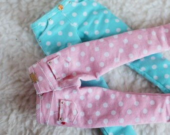 Polka dot jeans for Popovy Sisters doll (all body types) and similar size doll