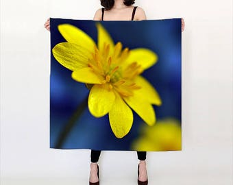 Yellow Scarf, Wearable Art, Digital Print scarf, Nature Scarf, Floral Photo Scarf, Yellow Wedding shawl, Buttercup Scarf, Gift for Women