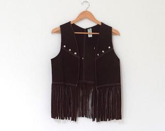 Brown Suede Fringe Vest/ 70s Western Fringe Vest/ Burning Man Festival Studded Vest/ Womens Size Small