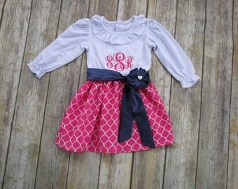 Girl Monogrammed Dress-Personalized Girl Dress-Girl Portrait Dress-Bright Pink Dress-Girl Pink Dress-Girl Spring Dress-Girl Easter Dress
