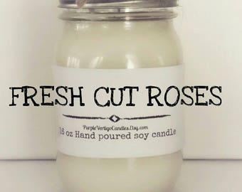 Fresh Cut Roses 16 oz Soy Candle, Fresh Cut Roses, Roses, Rose, Rose Candle, Rose Scent, Fresh Cut Roses Candle, Vegan, Soy Candle, Cut Rose