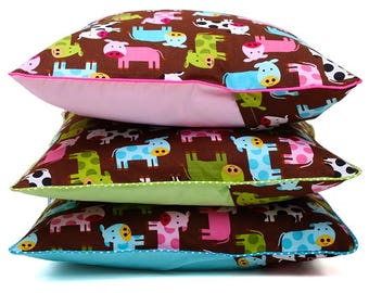Printed colorful cow Cushion cover