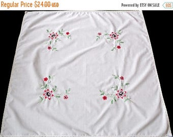 25% SUMMER SALE Vintage white square tablecloth with red flowers floral hand embroidery , hand embroidered table cloth