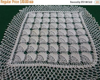 25% SUMMER SALE Vintage off white hand Crocheted square  table topper Crochet tray cloth