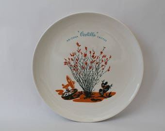 "Vintage 1950s Arizona Cactus Dinnerware ""Ocotillo"" 10"" Dinner Plate"