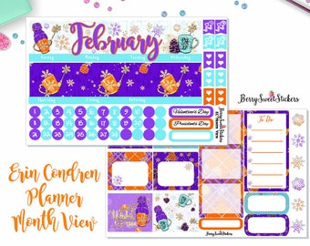 February Monthly kit, Fit for Erin Condren Life Planner, Happy Planner, Recollections Planner, Stickers, Monthly Layout, Month View stickers